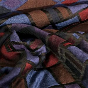 Blue, Multicolor, Purple, Red Mixed Geometric Jacquard fabric for Dress, Jacket, Light Coat, Skirt.